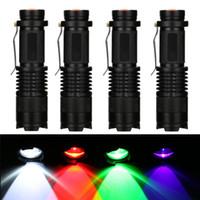 lanterna roxa venda por atacado-LED lanterna iluminação led 3 modos zoomable tático tocha lâmpada para pesca caça detector roxo verde vermelho branco