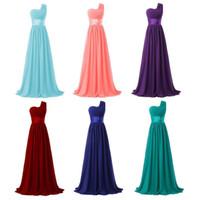 Hot selling Chiffon One Shoulder Bridesmaid Dresses with Satin Sash 2019 Burgundy Purple Chiffon Wedding Party Dress Dama De Honor Gowns