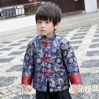 brocado chino azul al por mayor-Boy's Dragon Brocade Chinese Tang Traje Kongfu Chaqueta Azul