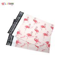 ingrosso flamingos di plastica-100pcs 25.5 * 33cm 10 * 13 pollici moda rosa fenicottero modello poli bollettini autoadesivi buste di plastica busta di spedizione