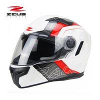 cascos integrales de motocross al por mayor-Certificación DOT ZEUS 813 Casco integral de moto con doble lente Casco de moto de motocross Four Seasons Talla M L XL XXL
