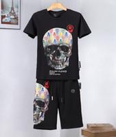 ipek gömlekler toptan satış-Casual Suit Ter Takım Elbise Jogging Yapan 2019 Yeni Yaz Ipek Pamuk Moda Yaka Yaka Kısa kollu Tişört Uzun Pantolon Erkek Eşofman Boyutu M-XL55