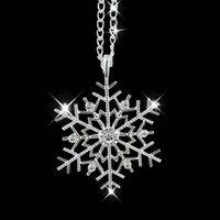 weihnachtsanhänger strass großhandel-Mode gefrorene Schneeflocke glänzend Strass Anhänger Kette Halskette Weihnachtsgeschenk