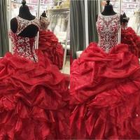 más tamaño corpiño corsé al por mayor-Vestidos de quinceañera rojos 2019 Dulces 16 vestidos Lentejuelas con cuentas Blusa Vestido de bola Corsé Volver Vestidos de debutante Tallas grandes Vestidos De 15