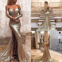 Wholesale crystal prom dresses online for sale - Group buy Glitter Gold Sequin Mermaid Prom Dresses Abiti Sexy Off The Shoulder High Split Long Sleeve Evening Gown Sparkly Backless Cheap Party Online