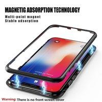 metal alüminyum çerçeve kılıf örtüsü toptan satış-IPhone Xr Xs Için manyetik Telefon Kılıfları Max X 8 Artı 6 7 Tam Kapsama Temperli Cam Arka Kapak ile Alüminyum Alaşım Çerçeve