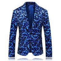 papillons bleu marine achat en gros de-MarKyi mode automne 3d-print papillon homme blazer slim 2019 nouvelle marque unique bouton hommes costume veste bleu marine