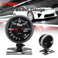 turbo bar boost großhandel-12V Auto Motorrad 60mm Schwarzes Gesicht Weißes Licht LED 2.0 Bar Auto Turbo Ladedruckanzeige