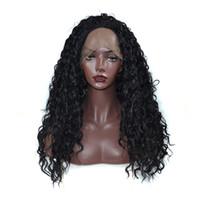 kanekalon pelucas rizadas negras al por mayor-Peluca delantera rizada rizada del cordón sintético rizado para las mujeres negras La mejor calidad peluca delantera del cordón de la fibra de Kanekalon con la rayita natural