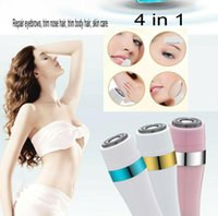 Wholesale epilator for sale - 4 In Women Shaver Painless Face Eyebrow Hair Remover Trimmer Epilator Woman Razor Facial Body Hair Removal LJJK1665