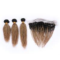1b 27 koyu kök ombre saç toptan satış-Kinkys Kıvırcık Bal Sarışın Bakire Saç Uzantıları 1b 27 Koyu Kök Ile Ombre Saç Uzantıları Dantel Frontal Kapatma 4 Adet / grup