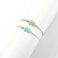 Wholesale peacock gold bracelet resale online - tortoise charm bracelets for women alloy chain Peacock blue animal bracelet bohemian gold silver holiday style fashion lover jewelry gifts