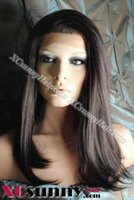 cabelo de chocolate 16 polegadas venda por atacado-16 polegadas de seda reta # 4 Chocolate Brown Glueless Full Lace Wigs 100% cabelo humano remy indiano [GFH025]