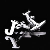 bouton en laiton achat en gros de-15mm lettre initiale J argent fantaisie rhodié laiton boutons de manchette boutons manches mode chemise boutons de manchette M1