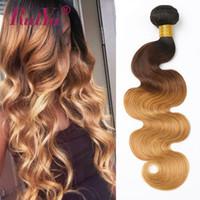 Ombre Menschliches Haar Bundles Körper Wellen Brasilianische Haar Webart Bundles Schwarz Braun Blond Farbe T1b 2704 3 Bundles Ruiyu Remy