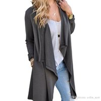 cinza camisola fina mulheres venda por atacado-Mulheres Cardigan Outono Manga Longa Irregular Longo Feminino Cinza Fina Camisola Solta Senhoras Casaco Fino Elegante Outerwear
