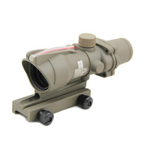 ingrosso ambiti acog-ACOG 4x32 Fibra Ottica Scope Red Illuminated Crosshair Real Red Cannocchiale Scopes Combat Sight Per Caccia Dark Earth