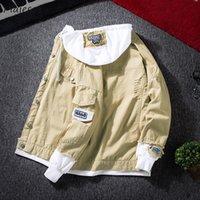 herren-patch-design großhandel-Jacken Herren Herbst Mit Kapuze Einreihig Dünne Allgleiches koreanische Art Mens Patch Designs Harajuku Trendy Denim Mäntel