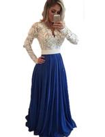 ingrosso abiti da sposa caldi-Hot 2019 Prom Dresses maniche lunghe in pizzo Perline blu abiti da sera Una linea formale abito da sera abiti da sera economici Pageant