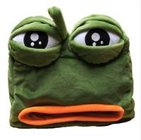 ingrosso asciugamani di rana-1pc 22cm cartone animato divertente rana triste appeso peluche scatola di carta asciugamano caso veicolo tessuto farcito giocattolo regalo