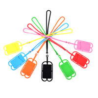 kartenhalter für handy großhandel-Mode lanyards handy silikon halter brieftasche case credit id karte tasche halter tasche lanyard für iphone 6 7 8 plus xr huawei