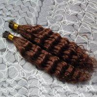 auburn remy pelo virgen al por mayor-# 33 Extensiones de cabello remy marrón oscuro de Auburn 200S Fusión de queratina Pre Blonded Extensiones de cabello humano Rizado rizado Virginal peruano de Remy Cabello