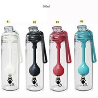 cucharas de mezcla de plástico al por mayor-Té Agua Separación Copa multifunción Agitar la botella del Separación de té con una cuchara de plástico de mezcla Batido Copa MMA1953-1