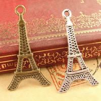 aksesuar eiffel toptan satış-35 * 18 MM Antik Bronz Retro Eyfel Kulesi charm kolye, el yapımı DIY takı aksesuarları toptan, kolye için Hint charms