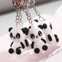 panda amantes llavero al por mayor-Creativo Lindo de Dibujos Animados Mini Panda Forma Muñeca Llavero Animal Panda Llaveros Para Amantes Mujeres Regalo de Cumpleaños Joyería Del Partido
