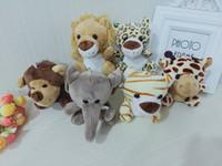 aslan dolması hayvan toptan satış-1 ADET Sevimli Dolması Doll Jungle Kardeş Kaplan Fil Maymun Aslan Zürafa Peluş Hayvan Oyuncak Çocuklar İçin En İyi Hediyeler 10 cm