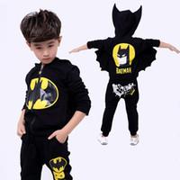 Wholesale batman clothes for kids resale online - Batman Baby Boys Clothing Sets Zip hooded Sport Suit For Boys Cartoon Jacket Coat Pants Batman Cosplay Costumes Kids Clothes set LY191227
