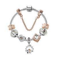 valentines herzgeschenke großhandel-17-21 CM Charme Perlen Armband 925 Silber Pandoa stil Armbänder herz an herz anhänger Zubehör Diy Hochzeit Schmuck valentinstag geschenk