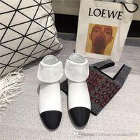 botinhas pretas para mulheres venda por atacado-Mulheres Botas Brancas Ankle Boots para 2019, Marfim Couro Preto Inverno Mulheres Martin Booties Causual Designer Mulas planas com caixa
