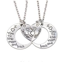 Wholesale pendants parts resale online - Heart Mother Daughter Necklace I Love You To The Moon And Back Parts Broken Heart Necklace Stainless Steel Necklace