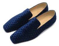 strass mokassin großhandel-Die Niet-Schuhe der Entwerfer-Männer Rhinestone-Mann-Plaid-Schuh-Mokassin-Mann-Kleid-Partei-Schuh-rote untere Kleid-Schuh-Geschäfts-Ebenen-Größe 38-47 Müßiggänger