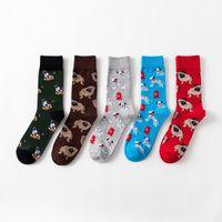 frauen neuheit socken großhandel-Unsex Bunte Hundedrucksocken Männer und Frauen Funky Winter Socks Neuheit Cartoon Mid Baumwollsocken LJJA2689