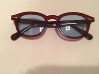 sunglasse azul al por mayor-Luxury-2019 Retro Vintage Johnny sunglasse tortuga y negro lente azul gafas de sol redondas hombres mujeres gafas marco nuevo marco de moda