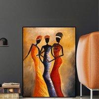 ingrosso immagini olio africano-Ritratto di donna africana vintage dipinto ad olio su tela poster e stampe su tela foto parete scandinava per soggiorno