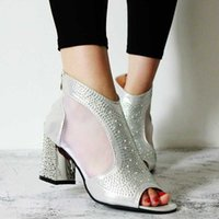 Wholesale sandals golden for sale - Group buy Bling Gladiator Sandals New Sexy Golden Peep Toe Zip Shoes Clear Chunky Transparent Heels Fish billed high heeled Sandals