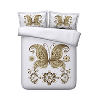 Wholesale bedding shams resale online - Animal bed set Butterflies Floral Girls Duvet Cover golden Piece Bedding Set With Pillow Shams Flower Teen Girls Bedspread Coverlet