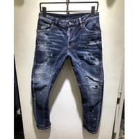 32 jeans largos al por mayor-Pantalones vaqueros rectos para hombre Pantalones largos Pantalones para hombre Línea gruesa verdadera Religión Jeans Ropa Hombre Pantalones de lápiz ocasionales Pantalones de mezclilla azul negro