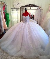 Wholesale ball gown wedding dresses online - Shiny Crystals Beads Ball Gown Wedding Dresses Saudi Arabic Dubai Luxury Rhinestones Spaghetti Straps Applique Long Bridal Gowns BC0725