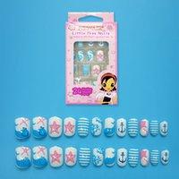 pegar las uñas azules al por mayor-24 pcs. Lovely Blue Ocean Cute Dolphin Nails Fake Nails Pre-pegamento Puntas en uñas Uñas Adorno de estrella de mar