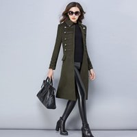 корейский зимний плащ пальто женщин оптовых-Korean Winter Female Coats for Women Red Cashmere Medium and Long Section Plus Size Cape Thick Women's Thin Cashmere Woolen Coat