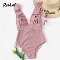 trajes de baño con volantes al por mayor-Romwe Sport Pink Solid Swimwear Cuello escotado Ruffle Traje de baño de una pieza Mujeres Summer Wire Free Monokinis Beachwear Swimsuit