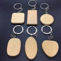 kişiselleştirilmiş anahtarlar toptan satış-DIY Boş ahşap anahtarlık Kişiselleştirilmiş Ahşap kolye anahtarlık arkadaşlar mezuniyet 6 stilleri için en iyi hediye Özel Logo