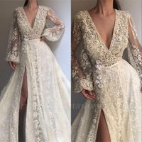 Wholesale red black long evening gown for sale - Illusion Prom Dresses Long Sleeves Beads Lace Sequins Shinning Front Split Evening Dress Sexy Customize Celebrity Party Gowns