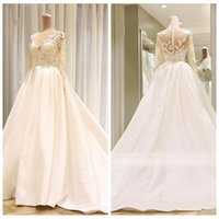 Wholesale wedding wear for ladies for sale - Group buy Sheer Long Sleeves Lace Appliques A Line Wedding Dresses Satin Long Bridal Gowns Real Photos Modest Garden Marriage Wear For Ladies