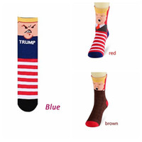Wholesale 3styles Donald Trump Stripes long socks women men Creative novelty Funny Stockings cartoon skateboard Middle Tube socks AAA1540