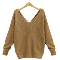 offene pullover großhandel-Zwei gekreuzte Pullover mit V-Ausschnitt und offenem Rücken